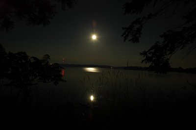 All, Moon rise, Reflections, Col. By Lake, (Kingston Mills Locks in the background)., Canada, Ontario, Glenbernie