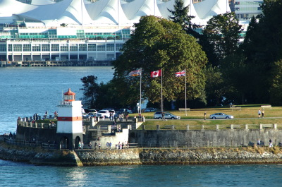 All, Light House, Flags, Canada, British Columbia, Canada Place Pier, Stanley Park, Canada, Vancouver