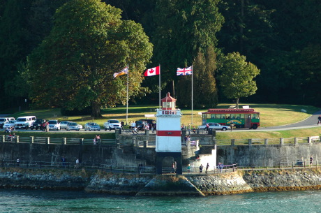 All, Stanley Park, Vancouver, Light House, Flags, British Columbia, Canada