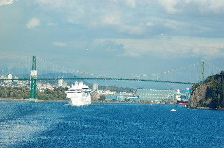 All, Stanley Park and Lions Gate Bridge, Ship, Boat, Vancouver, Bridge, British Columbia, Canada